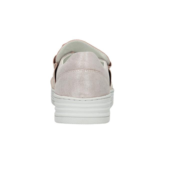 Skórzane slip-on damskie bata, różowy, 516-5614 - 17