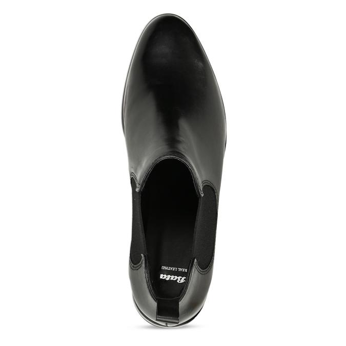Czarne skórzane botki typu chelsea bata, czarny, 594-6635 - 17