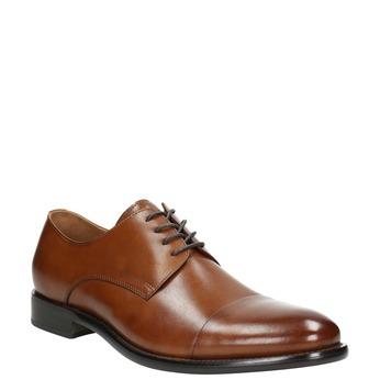 Brązowe skórzane półbuty typu angielki bata, brązowy, 826-3682 - 13