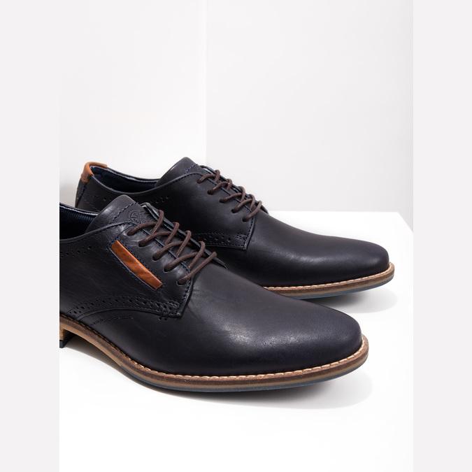 Nieformalne półbuty ze skóry bata, niebieski, 826-9910 - 14
