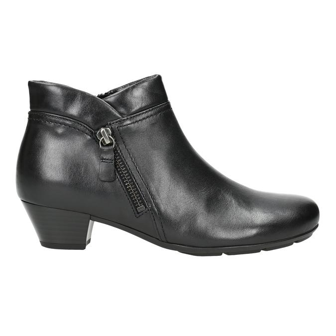 Skórzane buty za kostkę, zzamkami błyskawicznymi gabor, czarny, 614-6122 - 26