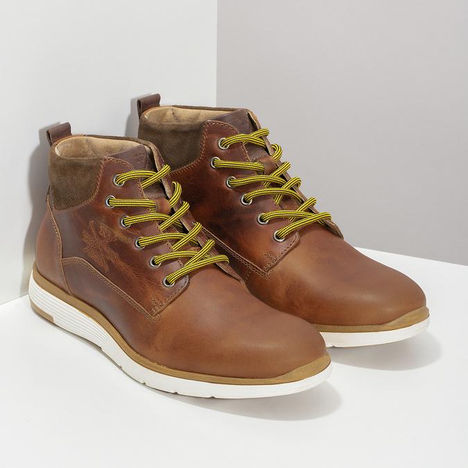 Brązowe skórzane obuwie męskie za kostkę bata, brązowy, 846-3645 - 26