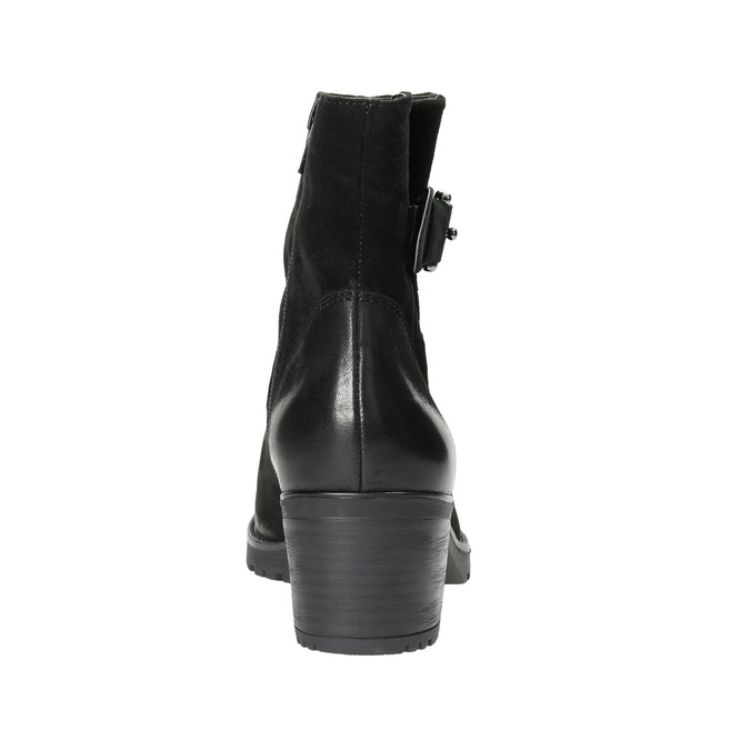 Skórzane botki zklamrami bata, czarny, 696-6621 - 17
