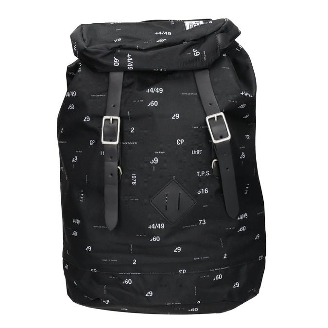 Plecak znadrukiem i wzorzystą wstawką, czarny, 969-6076 - 26
