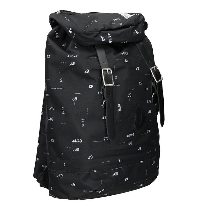 Plecak znadrukiem i wzorzystą wstawką, czarny, 969-6076 - 13