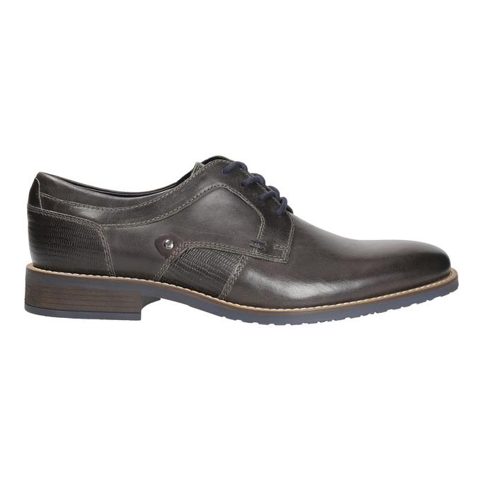 Nieformalne skórzane półbuty zfakturą bata, szary, 826-2612 - 15