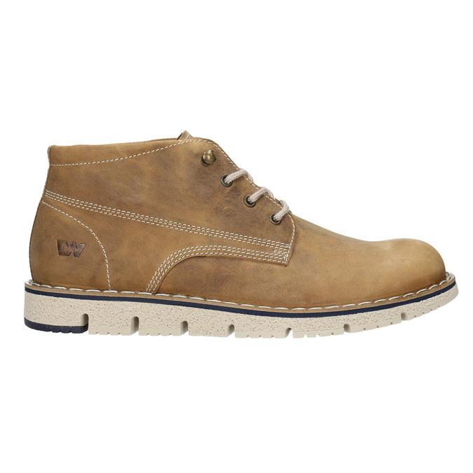Skórzane buty za kostkę na kontrastowej podeszwie weinbrenner, brązowy, 846-4658 - 26