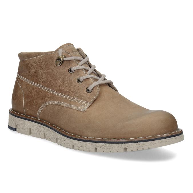 Skórzane buty za kostkę na kontrastowej podeszwie weinbrenner, brązowy, 846-4658 - 13