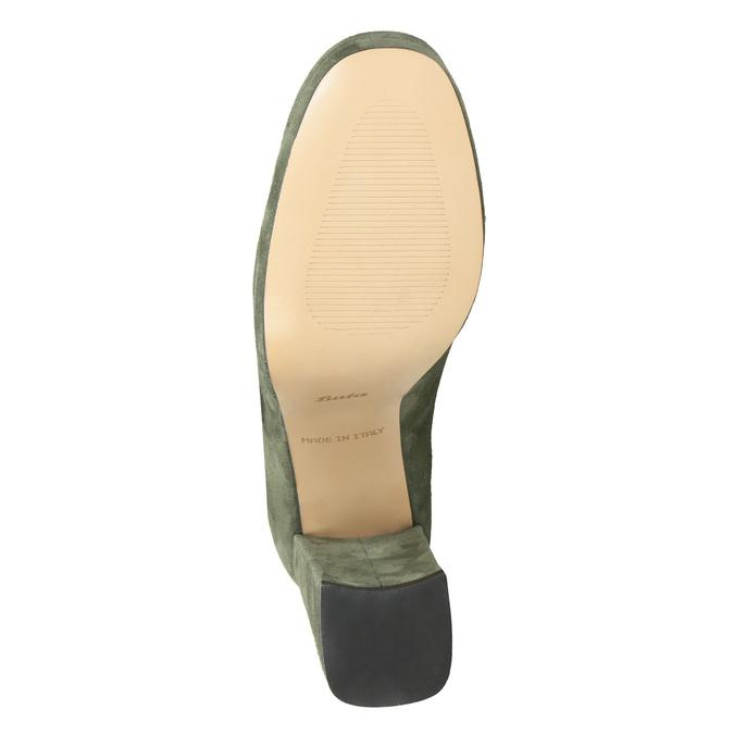 Skórzane czółenka zklamrami bata, zielony, 723-7984 - 17