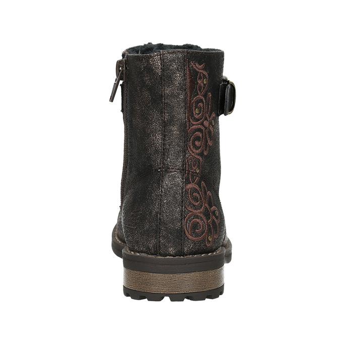 Zimowe buty dziecięce zhaftem mini-b, brązowy, 391-8654 - 17