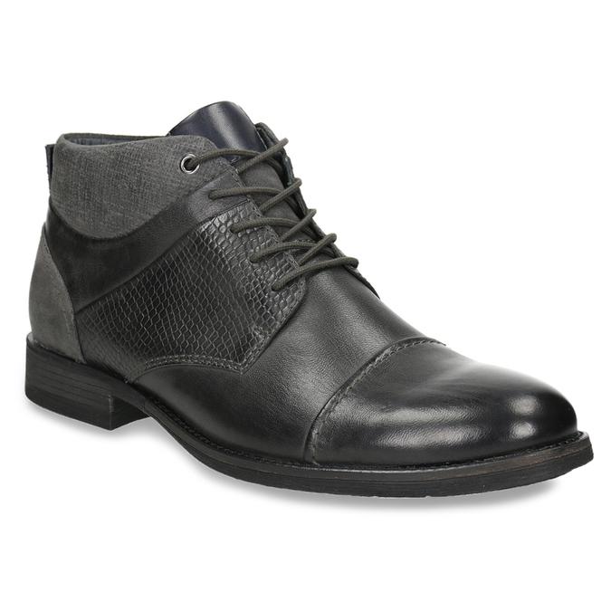 Skórzane buty za kostkę, zfakturą bata, szary, 826-2616 - 13
