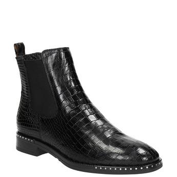 Skórzane obuwie damskie typu chelsea zfakturą bata, czarny, 596-6678 - 13