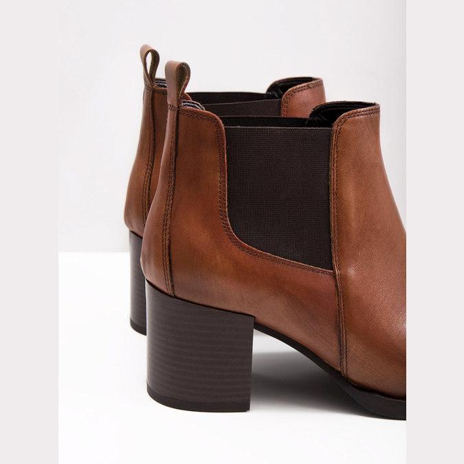 Skórzane botki na obcasach bata, brązowy, 694-4641 - 18