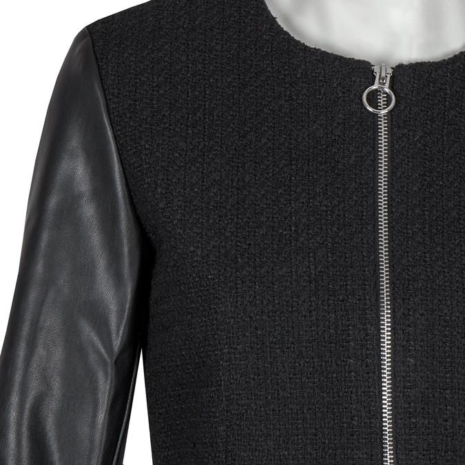 Damski płaszcz zrękawami ze skóry ekologicznej bata, czarny, 979-6153 - 16