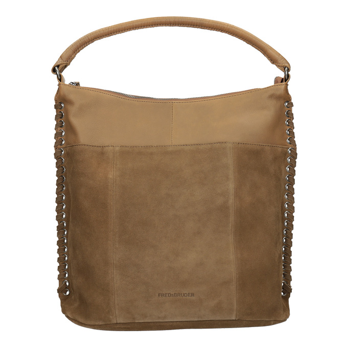 Skórzana torebka zprzeplatanymi paskami fredsbruder, brązowy, 963-3005 - 26