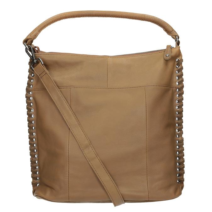 Skórzana torebka zprzeplatanymi paskami fredsbruder, brązowy, 963-3005 - 16