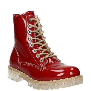 Lakierowane obuwie damskie na grubej podeszwie weinbrenner, czerwony, 598-5604 - 13