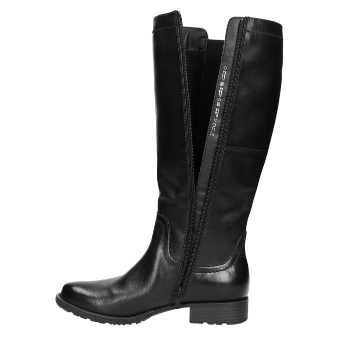 Skórzane kozaki z elastycznym paskiem bata, czarny, 596-6655 - 26