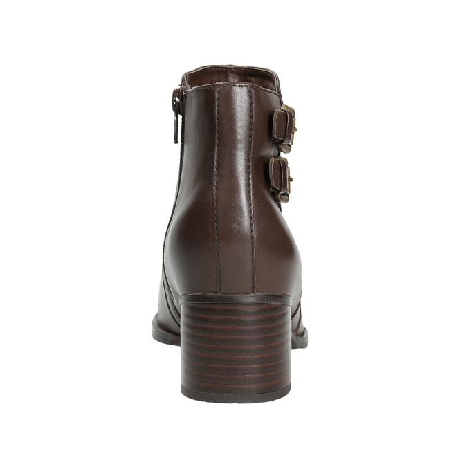 Skórzane botki zklamrami bata, brązowy, 696-4650 - 16