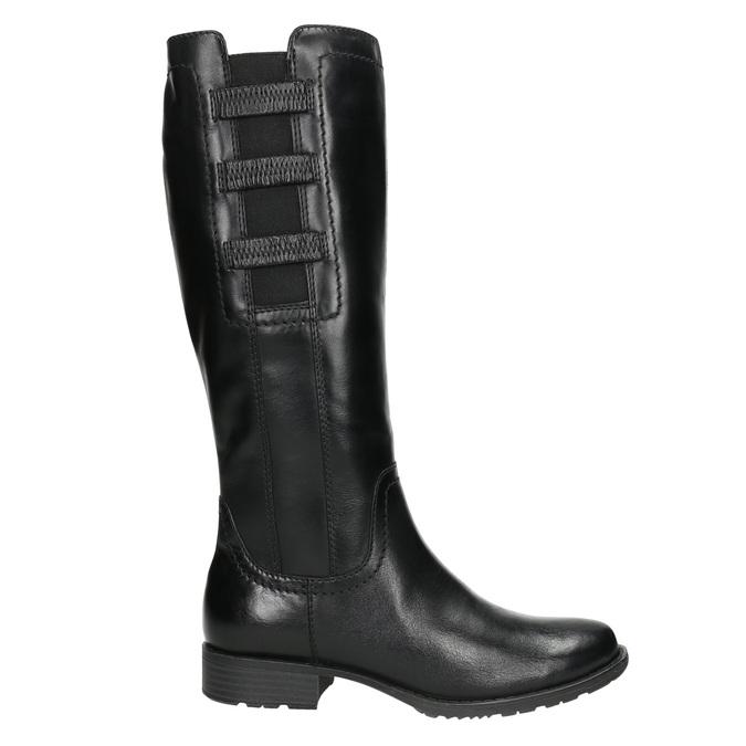 Skórzane kozaki z elastycznym paskiem bata, czarny, 596-6655 - 15