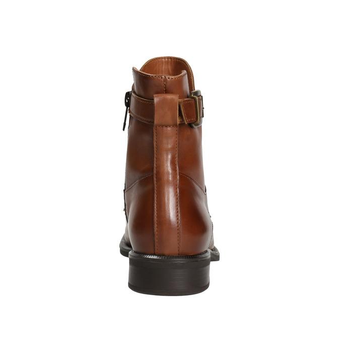 Skórzane kozaki damskie bata, brązowy, 596-4680 - 16