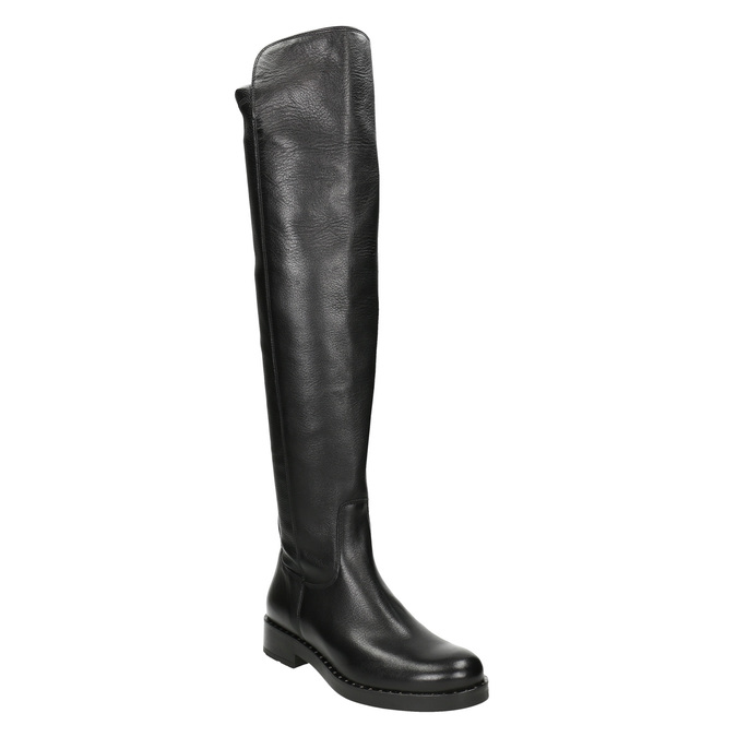 Skórzane kozaki damskie za kolana bata, czarny, 596-6682 - 13