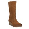 Brązowe kozaki ze skóry bata, brązowy, 793-4607 - 13