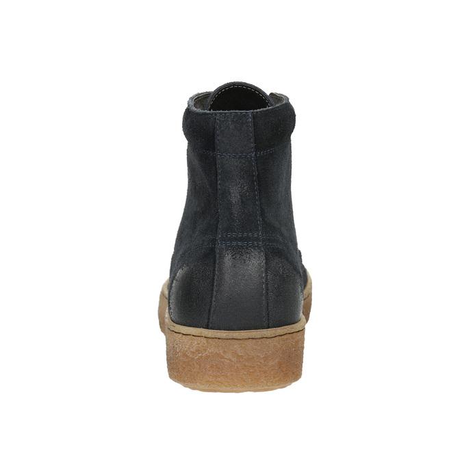 Skórzane buty męskie za kostkę bata, niebieski, 843-9631 - 17