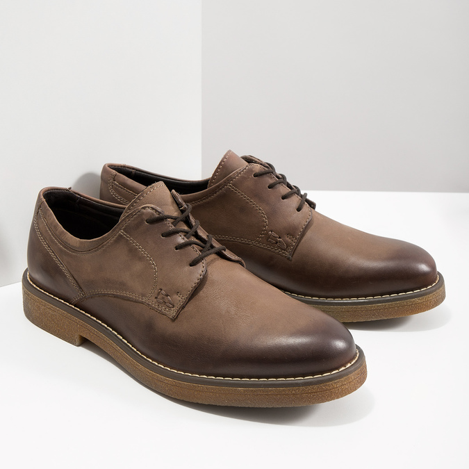 Brązowe półbuty ze skóry bata, brązowy, 826-4620 - 18