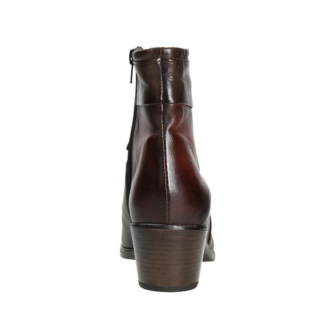 Skórzane botki damskie bata, brązowy, 696-4653 - 16