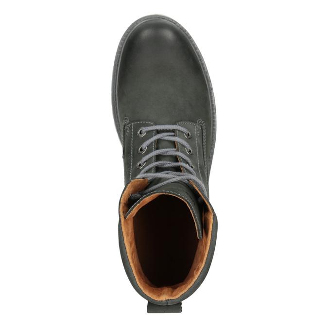 Skórzane obuwie męskie na kontrastowej podeszwie weinbrenner, szary, 896-2702 - 15