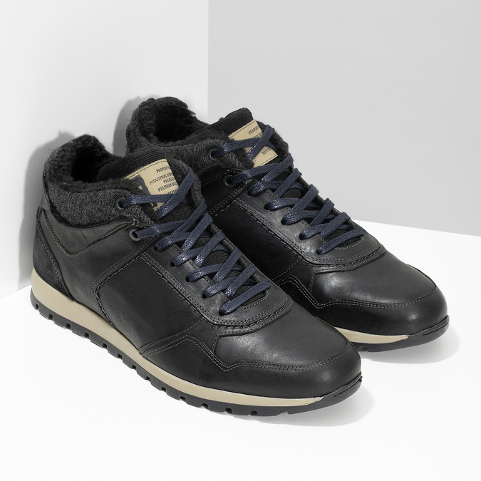 Skórzane trampki męskie zociepliną bata, czarny, 846-6646 - 26