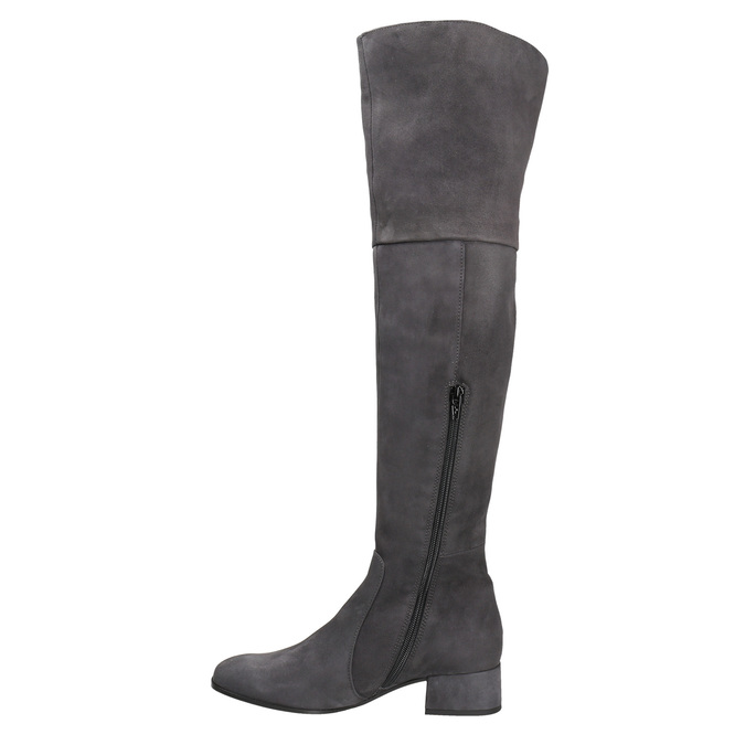 Skórzane kozaki damskie za kolana bata, szary, 693-2604 - 15
