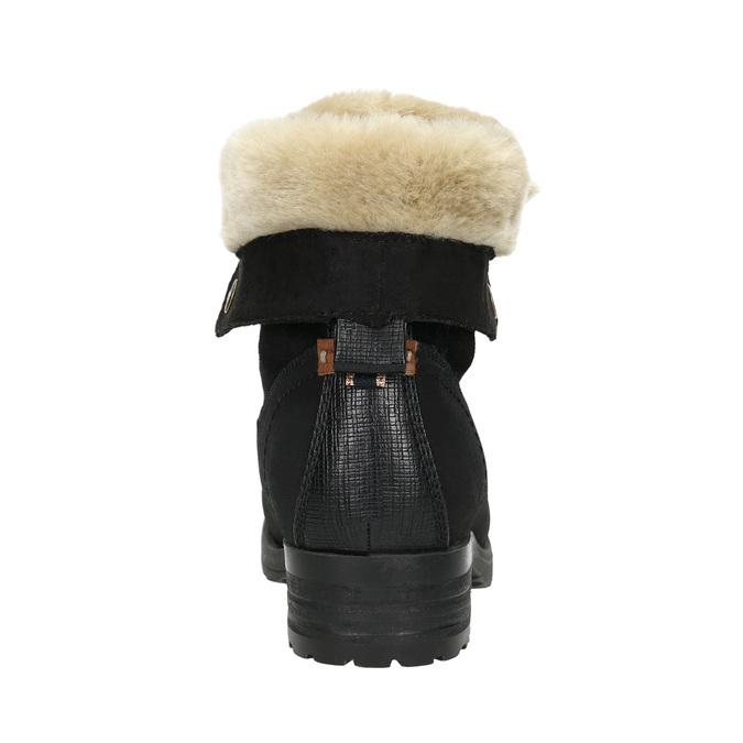 Buty za kostkę z kożuszkiem bata, czarny, 591-6618 - 17