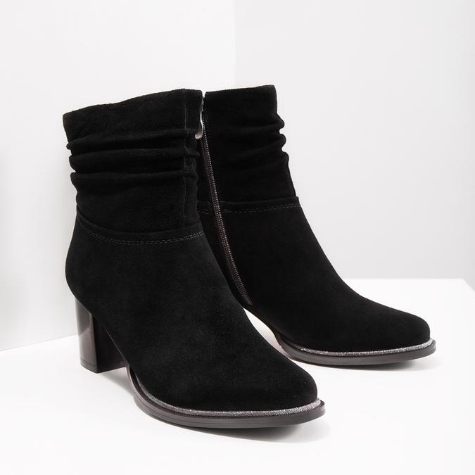 Skórzane botki bata, czarny, 693-6602 - 18