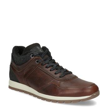 Brązowe skórzane trampki męskie zociepliną bata, brązowy, 846-4646 - 13