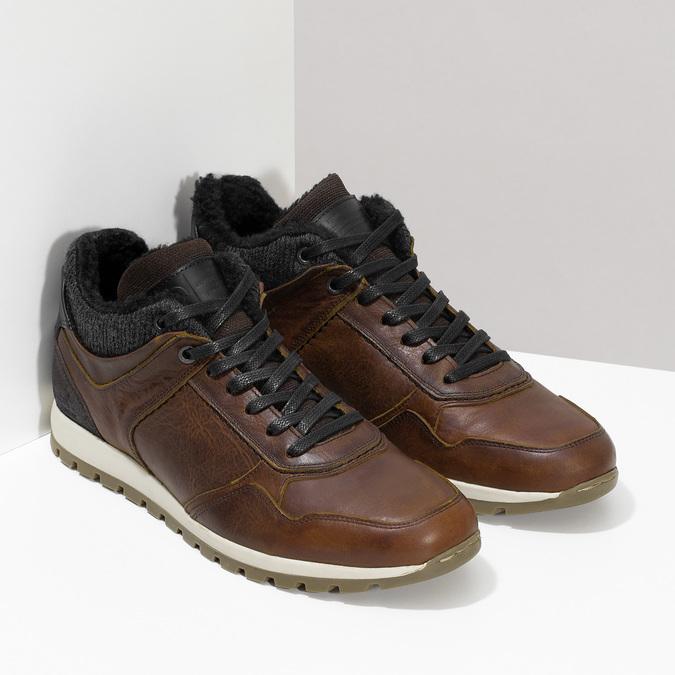 Brązowe skórzane trampki męskie zociepliną bata, brązowy, 846-4646 - 26
