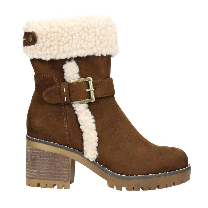 Zimowe buty damskie zklamrami bata, brązowy, 699-4637 - 15