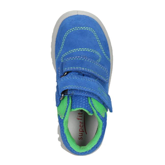 Skórzane obuwie dziecięce na rzepy, niebieski, 113-9036 - 15
