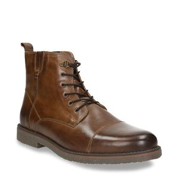 Skórzane ocieplane buty za kostkę bata, brązowy, 896-4662 - 13