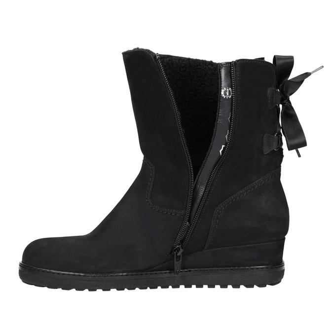 Skórzane obuwie typu ugg na koturnach gabor, czarny, 616-6011 - 26