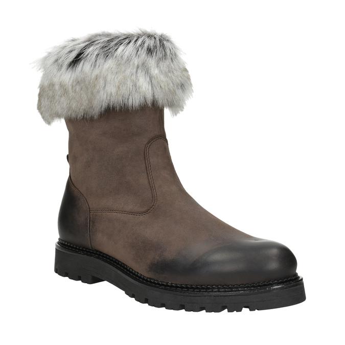 Skórzane buty damskie zfuterkiem bata, brązowy, 594-4657 - 13