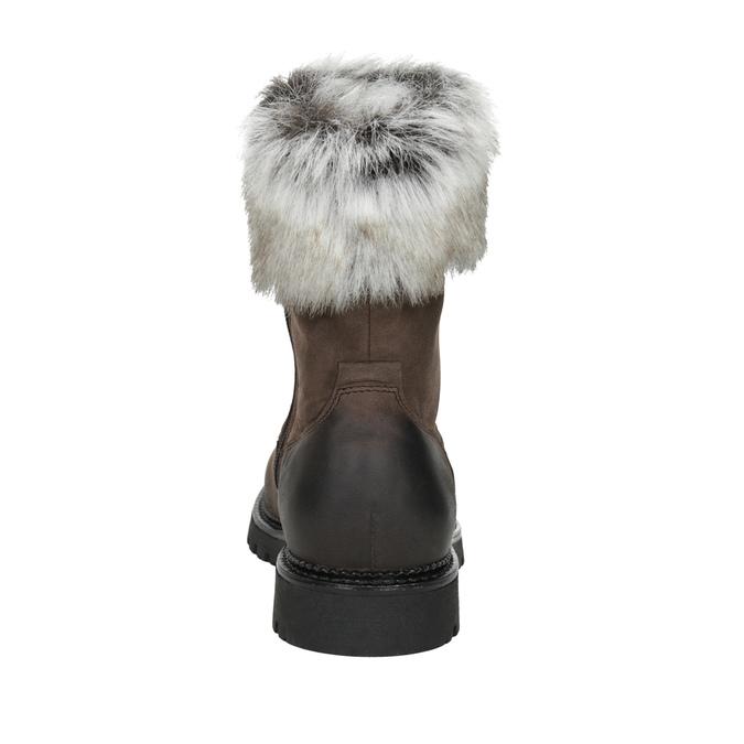 Skórzane buty damskie zfuterkiem bata, brązowy, 594-4657 - 16