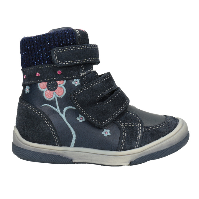 Zimowe skórzane obuwie dziecięce bubblegummer, niebieski, 124-9602 - 26