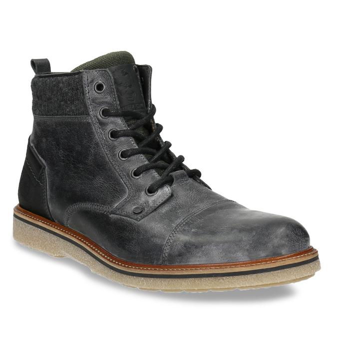 Skórzane buty męskie za kostkę bata, szary, 896-2669 - 13