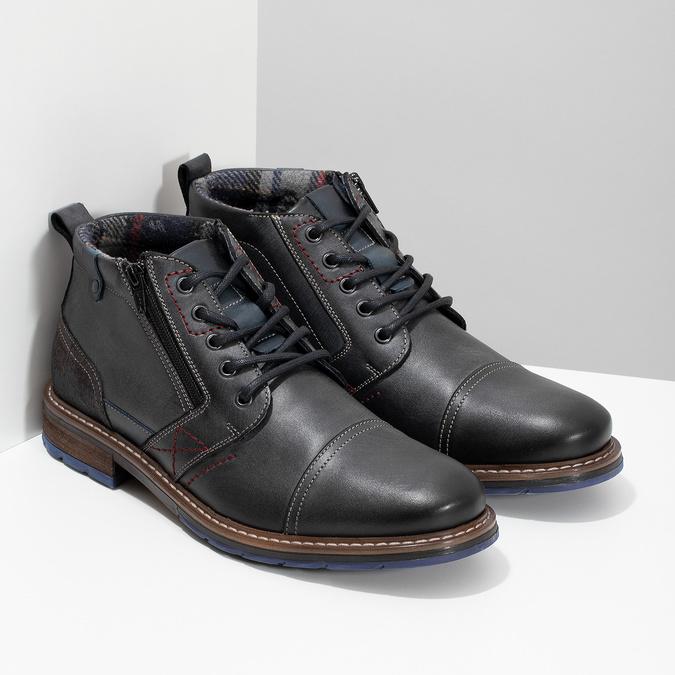 Skórzane obuwie męskie za kostkę zzamkami błyskawicznymi bata, szary, 896-2678 - 26