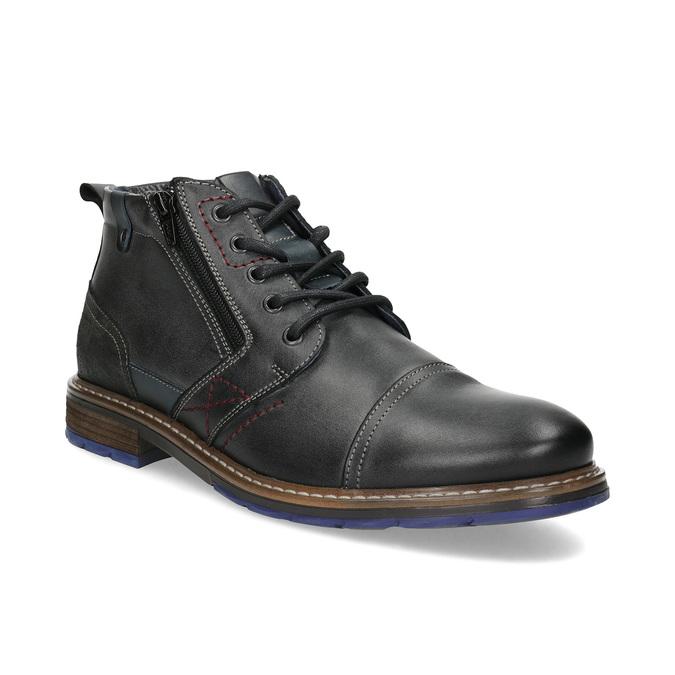Skórzane obuwie męskie za kostkę zzamkami błyskawicznymi bata, szary, 896-2678 - 13