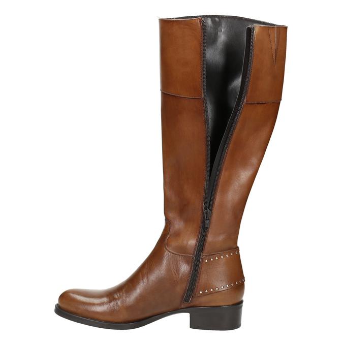 Skórzane kozaki damskie zklamrą bata, brązowy, 594-3427 - 26