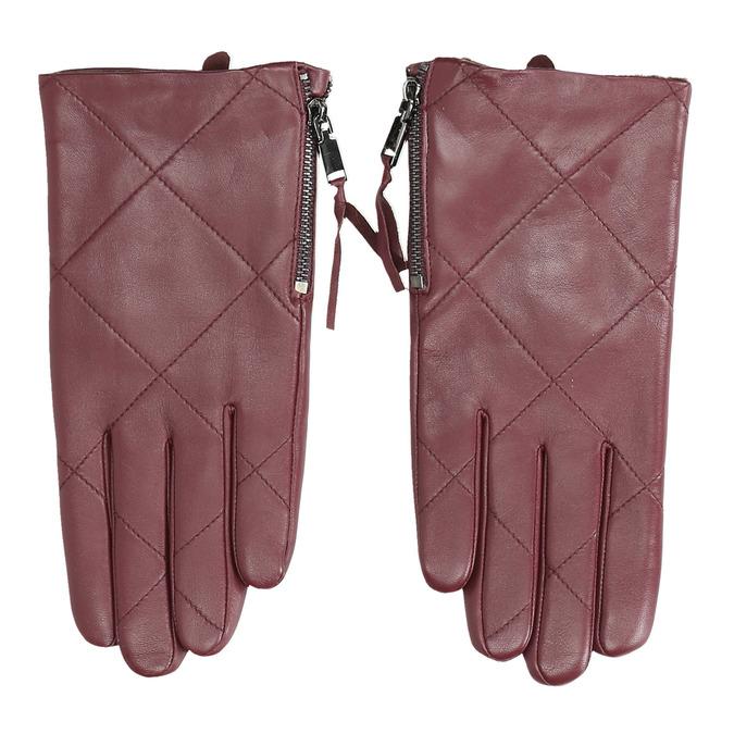 Bordowe skórzane rękawiczki zzamkami błyskawicznymi bata, czerwony, 904-5108 - 26