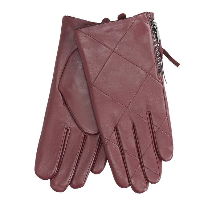 Bordowe skórzane rękawiczki zzamkami błyskawicznymi bata, czerwony, 904-5108 - 13